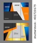vector empty tri fold brochure... | Shutterstock .eps vector #402723175