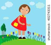little pretty girl on the... | Shutterstock .eps vector #402743311