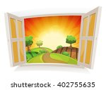 open window on a summer rural... | Shutterstock .eps vector #402755635