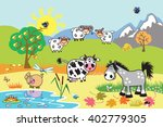 cartoon farm animals   sheep ... | Shutterstock .eps vector #402779305