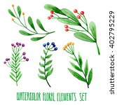 set of hand drawn floral... | Shutterstock . vector #402795229