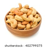 roasted cashew nuts wooden bowl ... | Shutterstock . vector #402799375