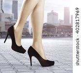 city landscape and black heels... | Shutterstock . vector #402817969