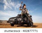 young woman warrior in brutal...   Shutterstock . vector #402877771