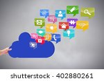 hand holding cloud against grey ... | Shutterstock . vector #402880261