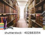 students desk against close up... | Shutterstock . vector #402883054