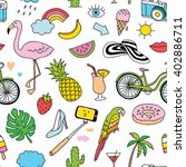 hand drawn seamless pattern... | Shutterstock .eps vector #402886711
