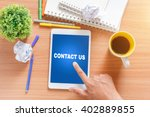 contact us concept. tablet with ... | Shutterstock . vector #402889855