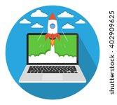 start up business concept. flat ... | Shutterstock .eps vector #402909625