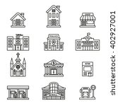 buildings icon set. line style... | Shutterstock .eps vector #402927001