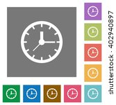 clock flat icon set on color...