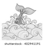 whale tail in the wavy ocean... | Shutterstock .eps vector #402941191