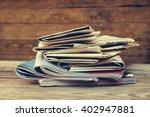 newspapers and magazines on old ... | Shutterstock . vector #402947881