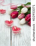 Heart Candles With Tulips On...