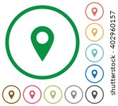 set of location pin color round ...