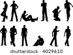 12 male poses   sitting and... | Shutterstock .eps vector #4029610