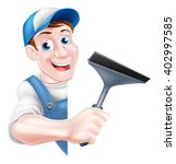 A Cartoon Window Cleaner Man I...
