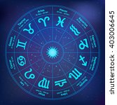 circle with signs of zodiac.... | Shutterstock .eps vector #403006645
