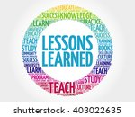 lessons learned word cloud ... | Shutterstock .eps vector #403022635