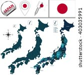 vector map of japan with named... | Shutterstock .eps vector #403035991