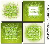 set of fresh spring green grass ... | Shutterstock .eps vector #403080019