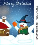 Snowman in christmas card - stock photo