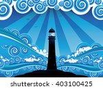 Blue Stylized Sea With Big...