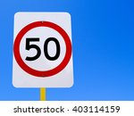 50 speed limit sign on clear... | Shutterstock . vector #403114159