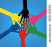 colorful human hands touching... | Shutterstock .eps vector #403120924