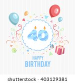 happy birthday card with candle ... | Shutterstock .eps vector #403129381