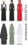 set of different standing arab... | Shutterstock .eps vector #403135711