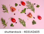 chopped vegetables and fruit on ... | Shutterstock . vector #403142605