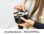 girl with french manicure holds ... | Shutterstock . vector #403149961
