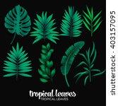 tropical leaves pattern | Shutterstock .eps vector #403157095