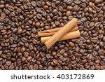 cinnamon sticks and coffee... | Shutterstock . vector #403172869