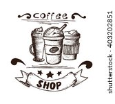 Hand Drawn Coffee Frappe With...