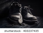 old leather shoes and pocket... | Shutterstock . vector #403237435