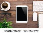 white tablet blank screen on... | Shutterstock . vector #403250599