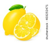 fresh lemons and slices with... | Shutterstock .eps vector #403252471