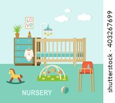 baby room with furniture... | Shutterstock .eps vector #403267699