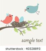 Birds Family In Love. Vector.