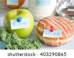 Small photo of Calorie counting and food with labels concept