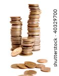 a lot of coins isolated on white | Shutterstock . vector #40329700