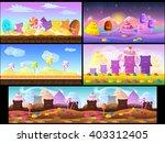 cartoon fairy tale landscape.... | Shutterstock .eps vector #403312405