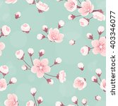 cherry flowers seamless pattern ... | Shutterstock .eps vector #403346077