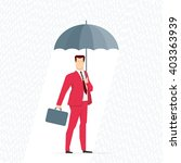 Red suit businessman under the rain with an umbrella. Vector concept illustration. - stock vector