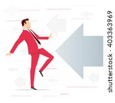 Red suit businessman and potential threat. Vector concept illustration. - stock vector