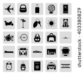 travel trip simple icons set on ...
