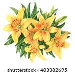 yellow lilies bouquet flower... | Shutterstock . vector #403382695