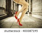 brown retro interior and woman... | Shutterstock . vector #403387195